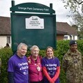 Cllr Chris Wright, Chair of Froends of Grange Park; Deputy Mayor Cllr Toni Letts and Hannah Brice-Harries, Vice Chair Friends of Grange Park