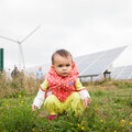 One of the younger visitors to Westmill Wind Farm and Solar Park during the inaugural Community Energy Fortnight in 2013 (Photograph: Andy Cantlon)