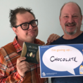 Alan Carr is giving up chocolate,. Pictured with Chairman of Neuroblastoma UK, Tony Heddon