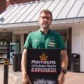 Doug Maw, Morrisons employee, protests against his employer