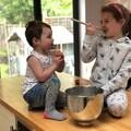 Esme and Ava baking for Big Chocolate Tea