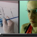 Artist Gretchen Andrew using Google Glass to paint a self portrait