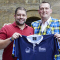 Doddie Weir and Fergus Farrell, sales manager (South East) at Raging Bull Sportswear