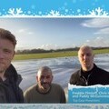 A screen grab from the video messages of the Top Gear presenters wishing staff a Merry Christmas