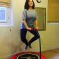 Caroline Flint on trampoline