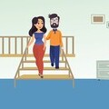 Graphic of a woman correctly guiding a man with sight loss down a set of stairs
