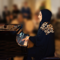 Arabic lady playing piano (colour)
