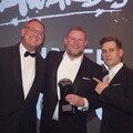 """Sims Recycling Solutions Head of Business Development, Ewan Fraser, accepts the """"Recycling Provider"""" award"""