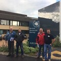 Simon Parrott (far left) stands with some of the expedition team during training for his mission at the British Antarctic Survey headquarters.