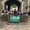 Army Cadets National Ambassador Sally Orange and Cadets from City of London and North East Sector ACF before the Tower of London marathon.
