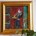 """""""Goldfinch"""" Original Oil Painting by Patricia J Valenti"""