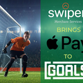 Football pitch and players and writing saying Swipen Brings Apple Pay to Goals