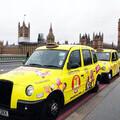 Peanuts cab outside Parliament
