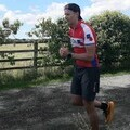 Action shot. Andrew Ledwith out running in the countryside