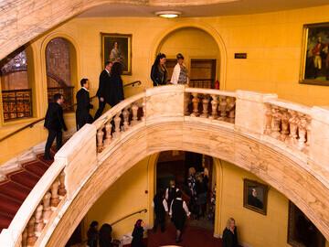 Arrivals through the grand staircase at Prestigious Star Awards 2018