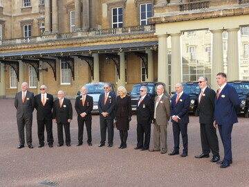 HRH The Duchess of Cornwall standing with LTCFC Committee Members