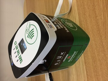 Side view of tap+DONATE™ box