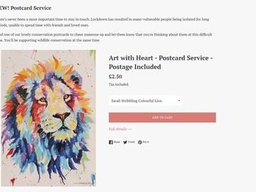 Screenshot of Postcard Service webpage