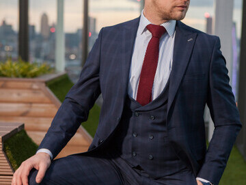 Chelsea Navy Check 3 Piece Suit