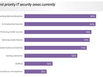 Highest current priority areas for IT security