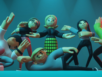 Image of all of the salamandra.uk team, rendered in 3D