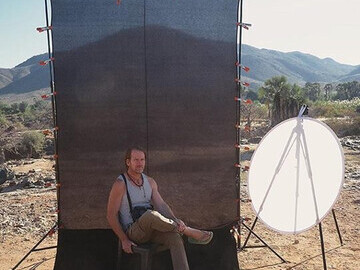 Christopher Rimmer on location in Namibia, 2018