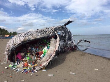 Dead Whale Sculpture with Plastic Choking