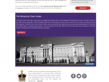 Monarchy on line Screen shot of new Website