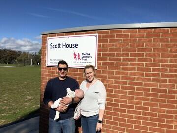 Eleanor, Andrew and Ava outside Scott House