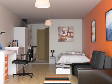 The apartments are studios with en-suite bathroom