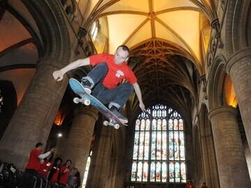 Skateboard in a church