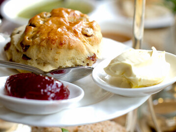 Photo of scone, jam and cream