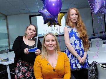 Rosie Burbridge of Stithians (left) proudly holds her Inspiring Futures Achiever award alongside colleagues.