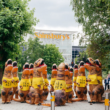 An image of the 20 large dinosaurs outside Sainsbury